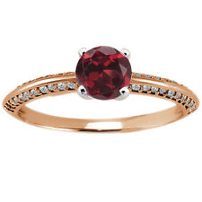 0.94 Ct Round Red Hydro Garnet Diamond 925 Rose Gold Plated Silver Ring