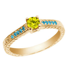 0.33 Ct Canary Diamond Blue Simulated Topaz 925 Yellow Gold Plated Silver Ring