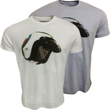 Mens Ben Sherman T Shirt Helmet Design White or Blue M L XL XXL