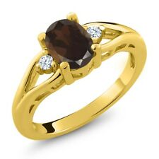 1.28 Ct Oval Brown Smoky Quartz and Topaz Gold Plated 925 Silver Ring