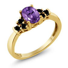 0.65 Ct Oval Purple Amethyst Black Diamond 925 Yellow Gold Plated Silver Ring
