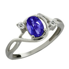 1.03 Ct Oval Tanzanite Blue Mystic Topaz and Topaz Sterling Silver Ring