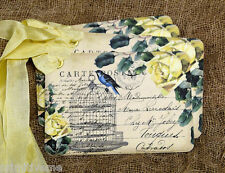 Hang Tags  FRENCH YELLOW ROSE BIRD CAGE TAGS or MAGNET #644  Gift Tags