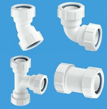32mm & 40mm Waste Pipe Fittings 45 & 90 Elbow, Straight, Swept Tee Compression