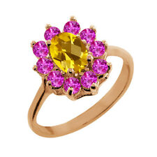 1.20 Ct Checkerboard Citrine Pink Sapphire Gold Plated 925 Silver Ring