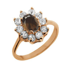 1.15 Ct Oval Brown Smoky Quartz White Topaz Rose Gold Plated 925 Silver Ring