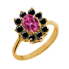 1.18 Ct Oval Pink Tourmaline Black Diamond Gold Plated 925 Silver Ring