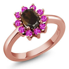 1.25 Ct Oval Brown Smoky Quartz Pink Sapphire Gold Plated 925 Silver Ring