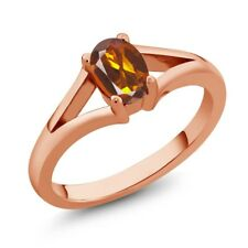 0.70 Ct Oval Orange Red Madeira Citrine Rose Gold Plated Silver Ring