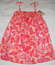NWT OSH KOSH Girls Red/Orange/Pink Butterfly Dress $34 TWINS or SISTERS!