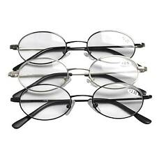 R3206 Quality Oval Metal Frame Packed of 3 Pairs Men's Women's Reading Glasses