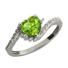 0.85 Ct Heart Shape Green Peridot and White Topaz Sterling Silver Ring