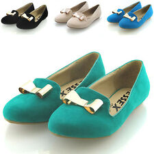 NEW WOMENS FLAT PUMPS LADIES BALLERINA BOW LOAFERS SLIPPERS CASUAL SHOES SIZE
