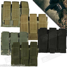 MOLLE TRIPLE PISTOL MAG POUCH, Magazine Rounds Ammo Mag Velcro Closure