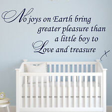 Baby Wall Sticker Quote - Boy to Love & Treasure Child Nursery Bedroom Decal Art