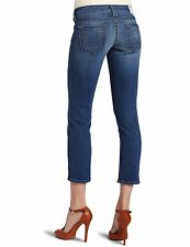 NEW $198 TRUE RELIGION Jeans Lizzy Crop Capri Lowrise Skinny Med Blue Denims