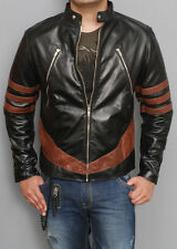 XMEN 1 WOLVERINE BLACK BIKER LEATHER JACKET ALL SIZES HALLOWEEN COSTUME