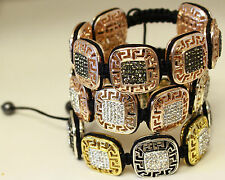 Greek Key Macrame Bracelets w/ Crystal Stones