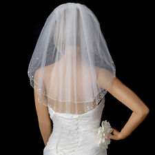 Bridal Wedding Double Layer Veil 010 w/ Scat Pearls & Sequins