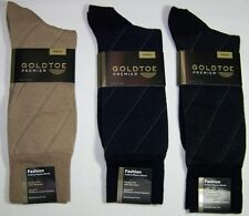 Gold Toe Mens 1Pr Cotton Rayon Blend Socks Size 10-13 Navy Beige Black 2941S