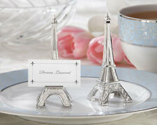 96, 120, 156, 192  Eiffel Tower French Silver Wedding Place Card Holder Favor