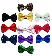 SEQUIN BOW TIE-RED, BLUE, BLACK, SILVER, PURPLE, PINK, HOT PINK, MULTI COLOR