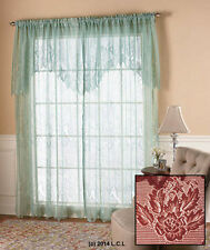 Lace Curtain w/Attached Valance IN STOCK Window Panel White Ivory Sage Burgundy