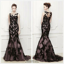 2013 Long Black Applique Evening Formal Prom Party Cocktail Dresses Wedding Gown