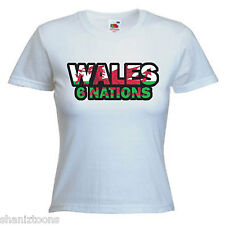 Wales 6 Nations Rugby Ladies Lady Fit T Shirt Size 6 -16