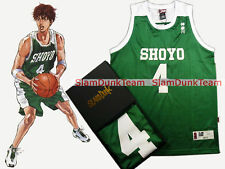 SLAM DUNK Cosplay Costume Shoyo School Basketball #4 Fujima Swingman Jersey GRN