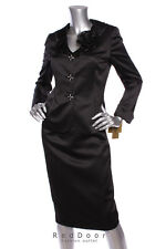 NEW KASPER Women Flower Ruffle Neck Single Breast Jacket/Skirt Suit Black 6/8/10