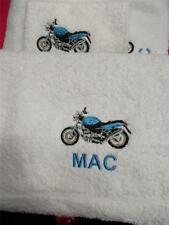 White Bath/Hand/Face Towels Embroidered with a Motorbike