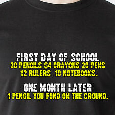 first day of school: 30 pencils, 64 crayons, 20 pens, teen Retro Funny T-Shirt