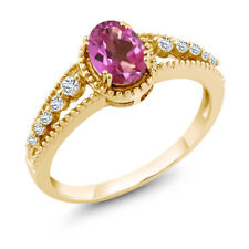 1.01 Ct Oval Pink Mystic Topaz White Topaz 14K Yellow Gold Ring