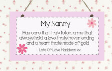 ♥ P149 Shabby Plaque Personalised Nanny Mummy Mum Auntie Heart Gift Sign Chic ♥