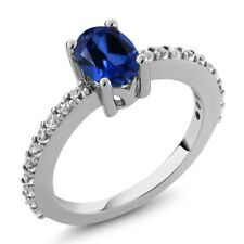 1.33 Ct Oval Blue Created Sapphire White Topaz 925 Sterling Silver Ring