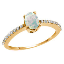 0.89 Ct Oval Cabochon White Simulated Opal White Diamond 14K Yellow Gold Ring