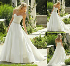 New White/Ivory Backless Satin Elegant Customed Made Sweetheart Wedding Dress