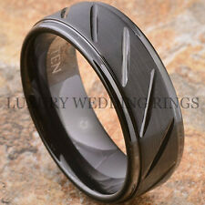 Tungsten Carbide Men's Ring Infinity Black Wedding Band 8mm Jewelry Size 6-13