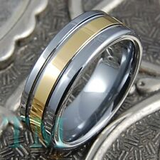 8mm Tungsten Ring Mens 14K Gold Wedding Band Shiny Engagement Jewelry Size 6-15