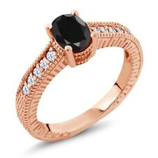 1.47 Ct Oval Black Sapphire White Topaz 18K Rose Gold Plated Silver Ring