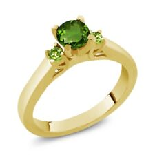 0.64 Ct Round Green Chrome Diopside Peridot 925 Yellow Gold Plated Silver Ring