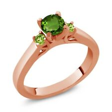 0.64 Ct Round Green Chrome Diopside Peridot 14K Rose Gold 3-Stone Ring