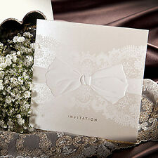 100Sets Lace Printed Wedding Invitations 100 Cards + 100 Envelopes + Seals/ 9055
