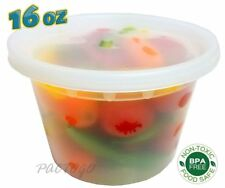 16 oz. (Pint Size) Plastic Freezer Food Storage Deli Soup Containers Tubs w/Lids