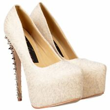 Womens Ladies Chrome Spiked High Heel Platform Stiletto Prom Party Shoes Size