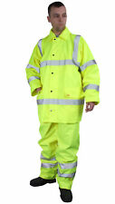 Hi Viz Waterproof Rainsuit Jacket & Trousers EN471 Orange or Yellow Small - 6XL