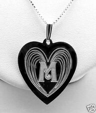 "0.95""X1.3"" Angel Wing Monogram Initial Heart Pendant w/Chain 18"", Silver, NEW"
