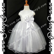 #S01 Flower Girls/Formal/Pageant/Christening Gowns Dresses, White 0-4 Years