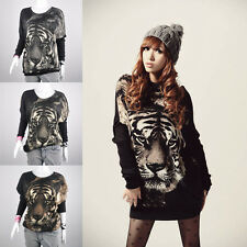 Women's Tiger Printed Batwing Knitted Tops Jumper Long Sleeve Pullover Sweater